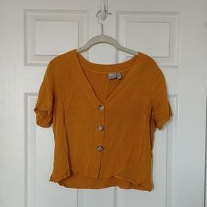 Mustard yellow button top